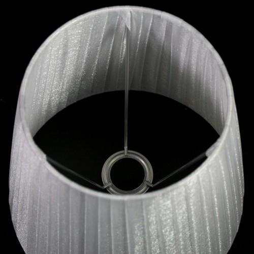 Paralume Ø 20x14x20 cm rivestito da velo siena organza grigio chiaro. Montatura argento attacco E14.