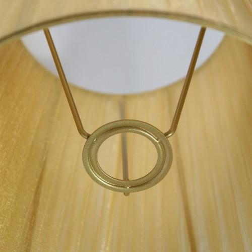 Paralume 20x14x20 cm rivestito da velo siena organza ambra chiaro. Montatura oro attacco E14.