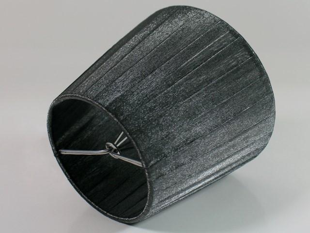 Paralume Ø12 Ø8 h10 cm tronco conico rivestito da velo organza grigio scuro. Montatura argento a molla.