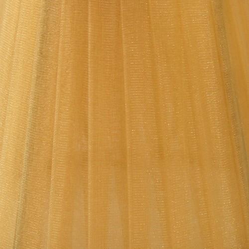 Paralume Ø12 Ø8 h10 cm tronco conico rivestito da velo organza ambra. Montatura oro a molla.