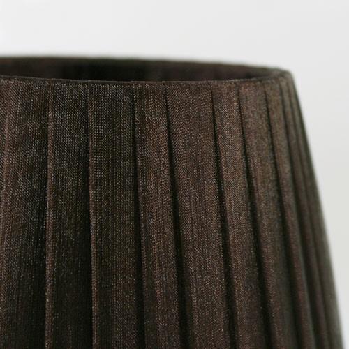 Paralume Ø12 Ø8 h11 cm tronco conico rivestito da organza marrone. Montatura bianca a molla.
