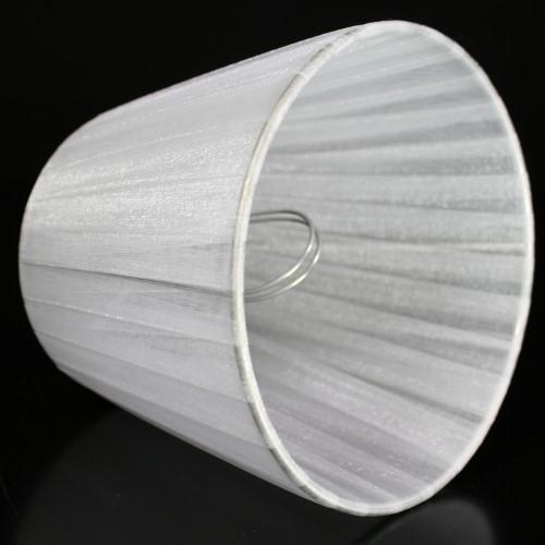 Paralume 14x10x12 cm tronco conico rivestito da organza grigio chiaro n°2. Montatura argento attacco a molla.