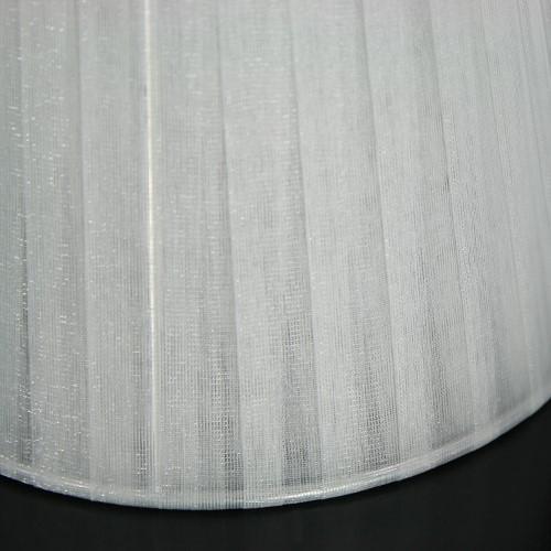 Paralume 14x10x12 cm tronco conico rivestito da organza avorio. Montatura argento attacco a molla.