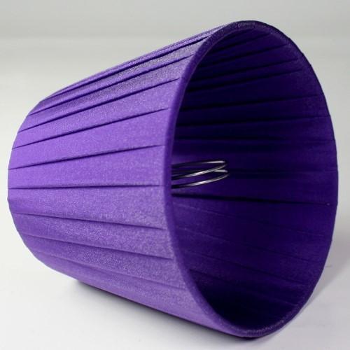 Paralume 12x8x10 cm tronco conico rivestito da ponge' viola. Montatura argento attacco a molla.