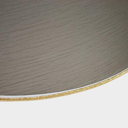 Paralume Ø30 Ø20 h22 cm tronco conico tessuto color tortora, passamaneria oro. Attacco E27