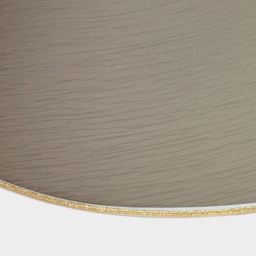 Paralume Ø35 Ø25 h25 cm tronco conico tessuto color tortora, passamaneria oro. Attacco E27