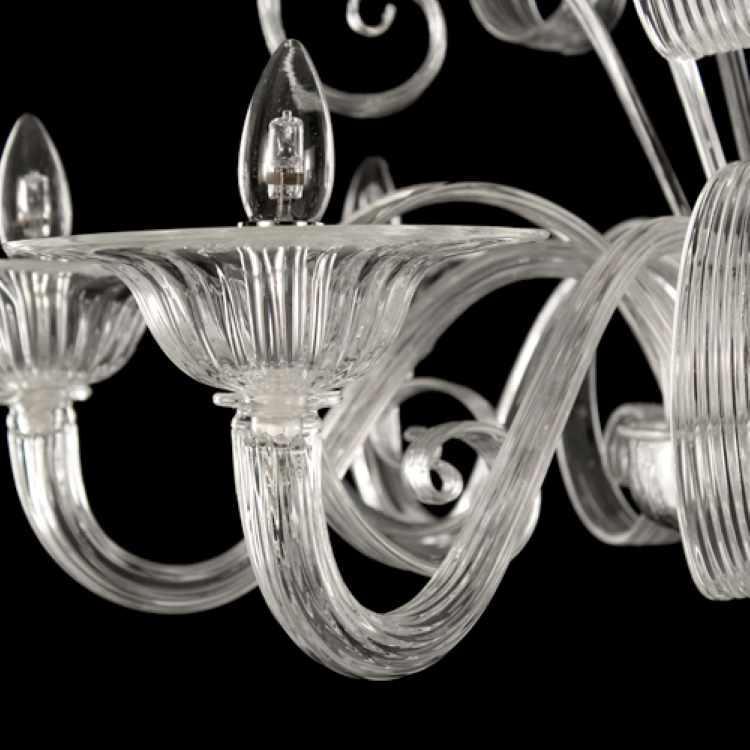 Braccio 20 cm ricambio lampadario murano in su cristallo trasparente