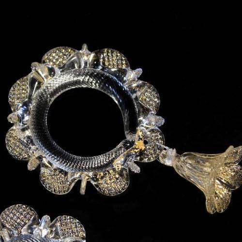 Anello in vetro di murano con campanella cristallo screziato oro