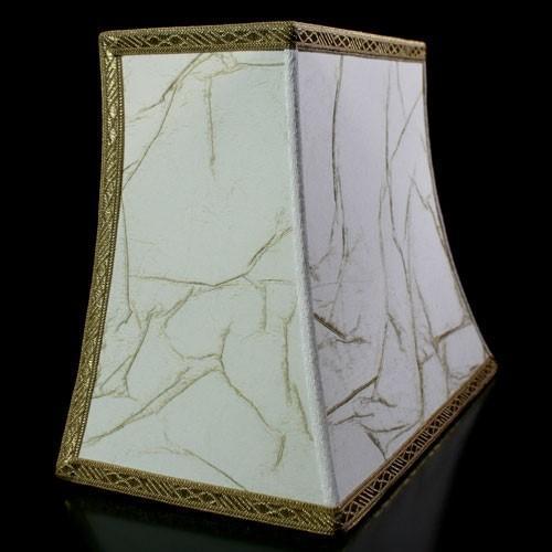 Paralume ventola pagoda avorio spatolato oro con bordura oro. Attacco E27