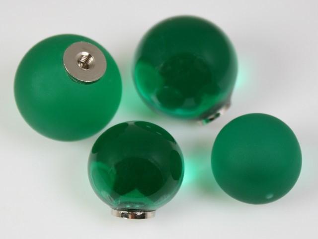 Maniglia pomello sfera verde scuro Ø20 vetro di Murano con filettatura M4 Femmina