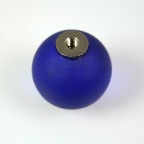 Maniglia pomello sfera satinata blu zaffiro Ø20 vetro di Murano con filettatura M4 Femmina