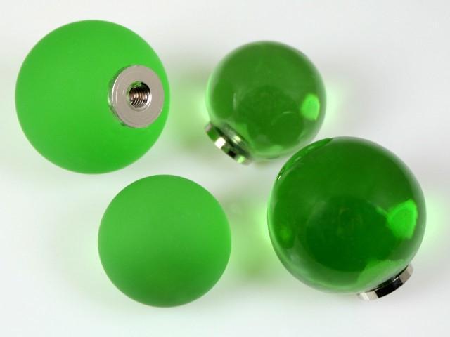 Maniglia pomello sfera satinata verde chiaro Ø25 vetro di Murano con filettatura M4 Femmina