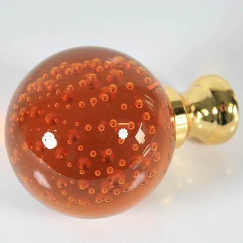 Maniglia pomello sfera ambra disegno pulegoso Ø65 vetro di Murano rocchetto oro.