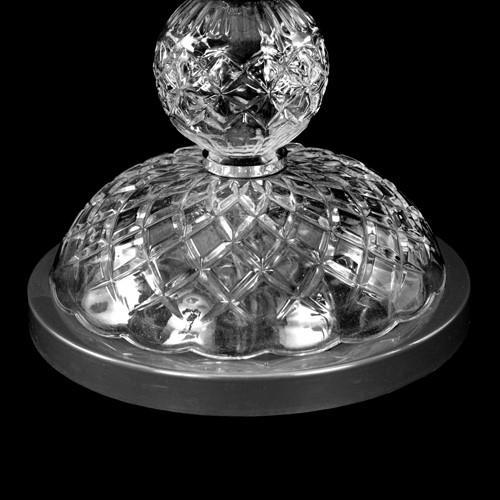 Centrotavola Ø24 H85 portafiori candelabro senza luci in vetro cristallo veneziano con finiture cromo