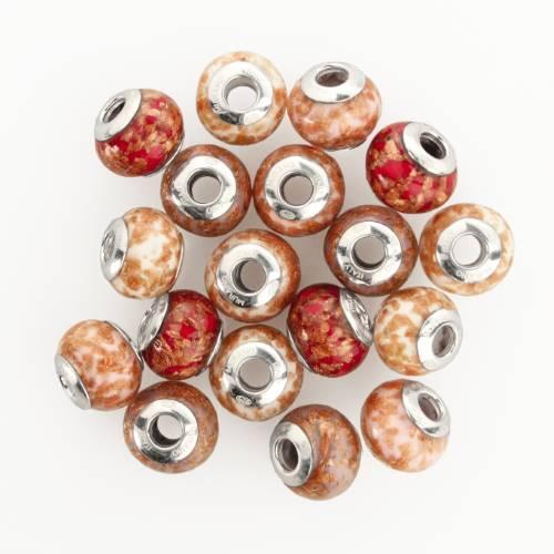 Perla di Murano stile Pandora Sommersa Ø13. Vetro rosso e avventurina. Borchia argento 925. Foro passante.