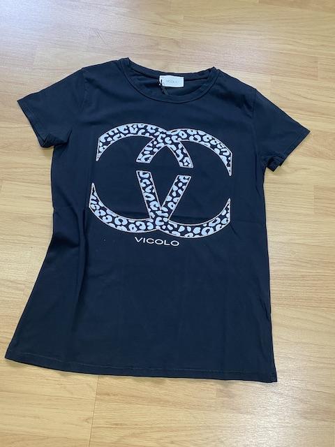 Tshirt Vicolo Stampa Maculato con bordi in lurex