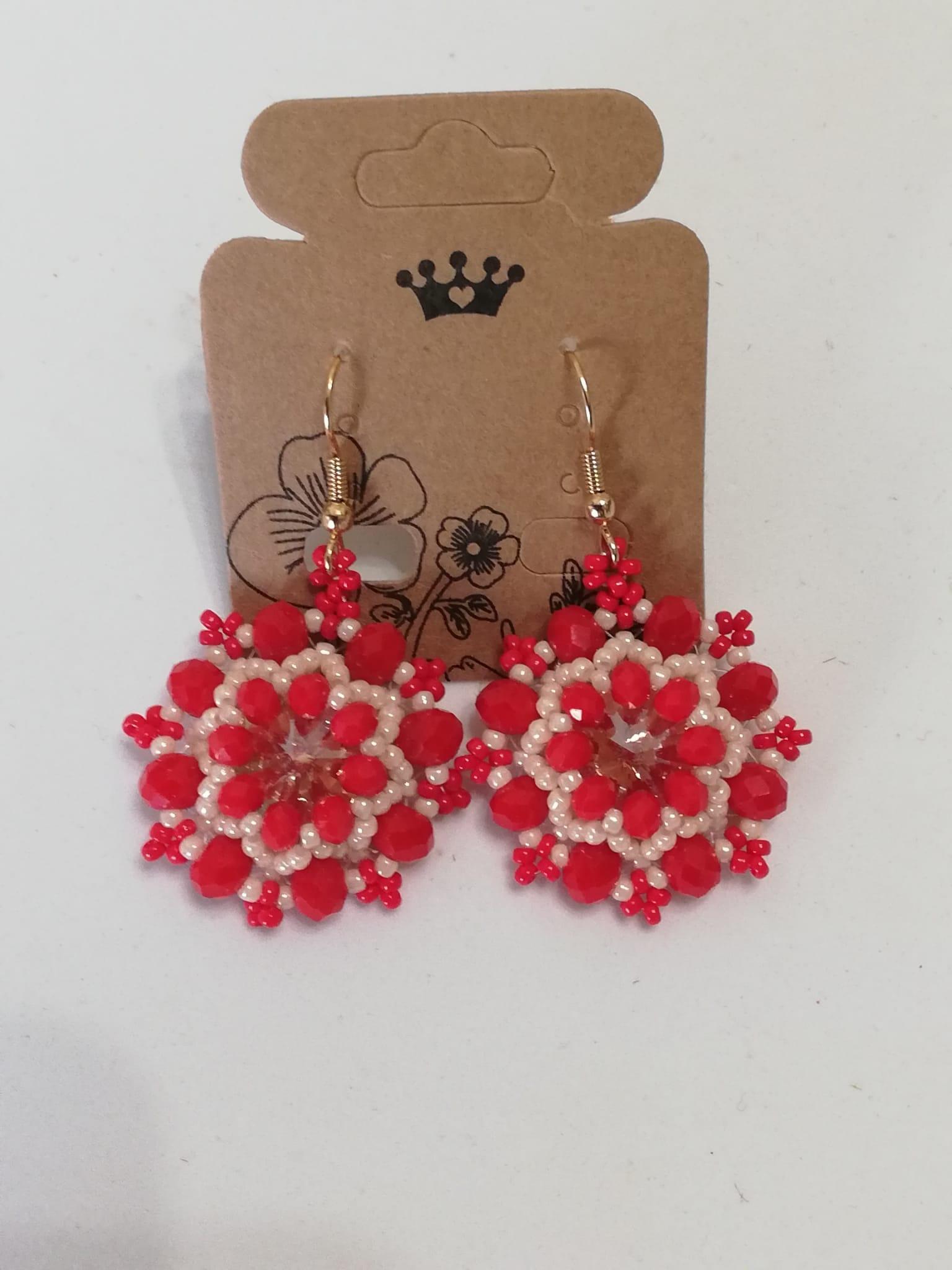 Boucles d'oreilles rouges faites main | Achat en ligne de bijoux fantaisie