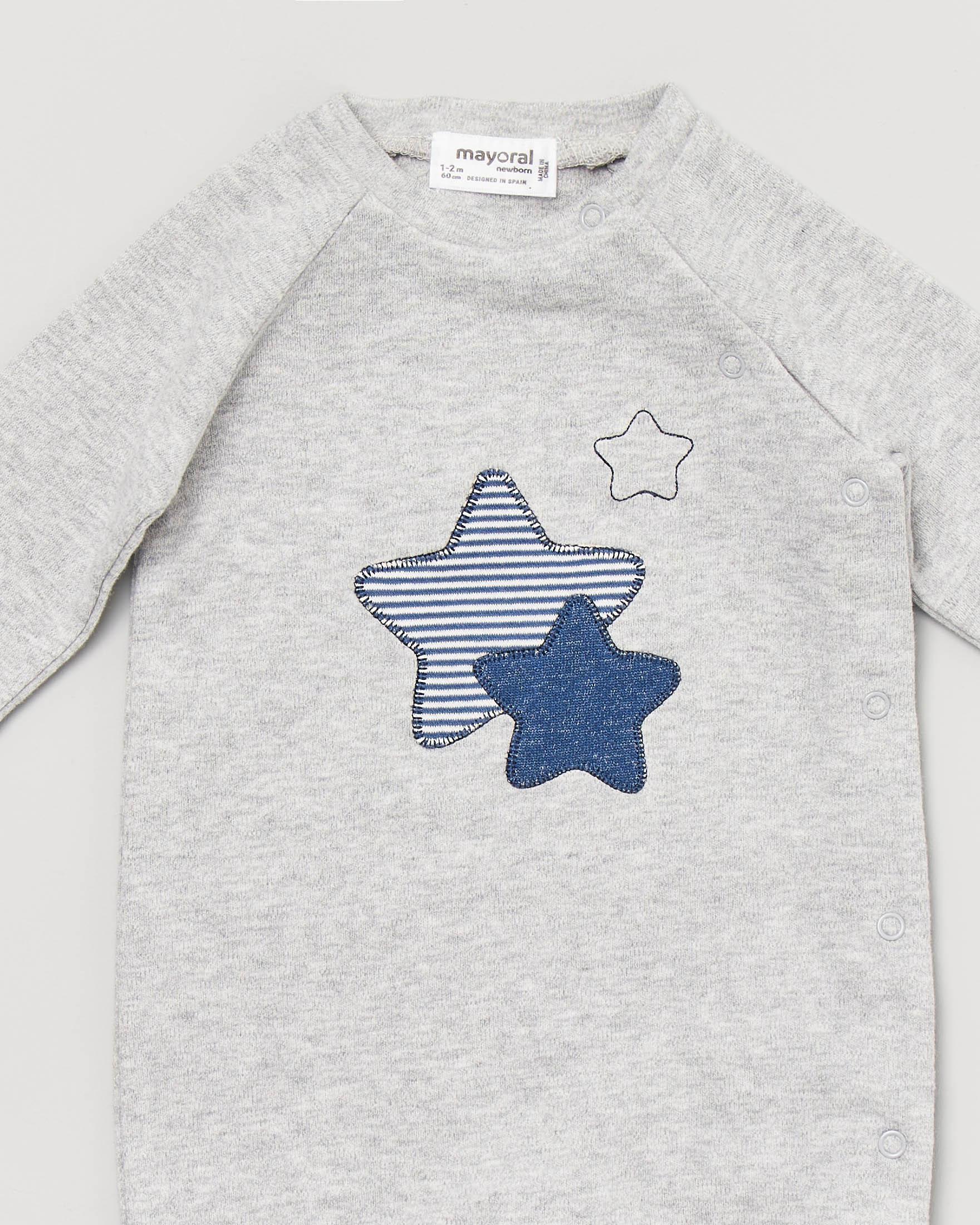 Tutina grigia con stelle ricamate 1-4 mesi
