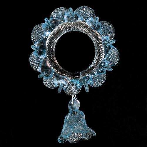 Anello in vetro di murano con campanella cristallo e acquamare