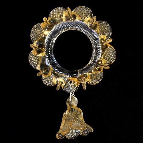 Anello in vetro di murano con campanella cristallo e ambra