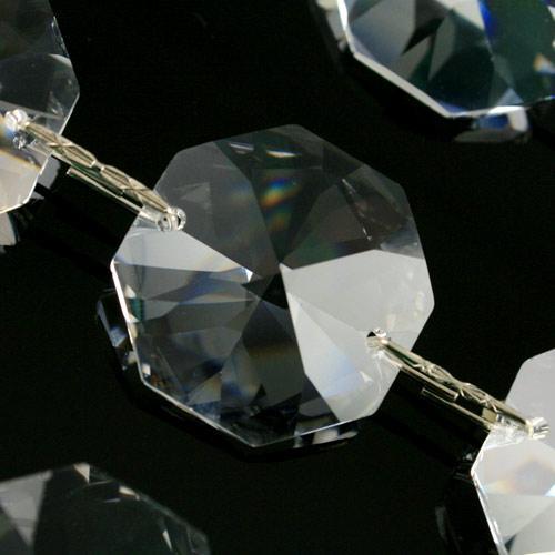 Catena ottagoni 24 mm cristalli Asfour lunga 50 cm, clip nickel.