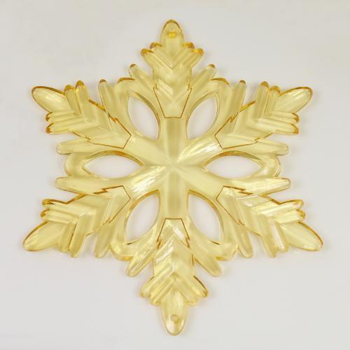 Fiocco di neve classico 130 mm acrilico color ambra, 2 fori.