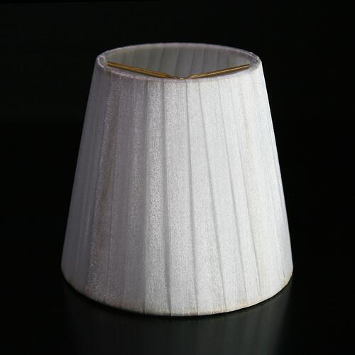 Paralume  Ø12 Ø8 h11 cm tronco conico rivestito da velo siena bianco. Montatura oro a molla.