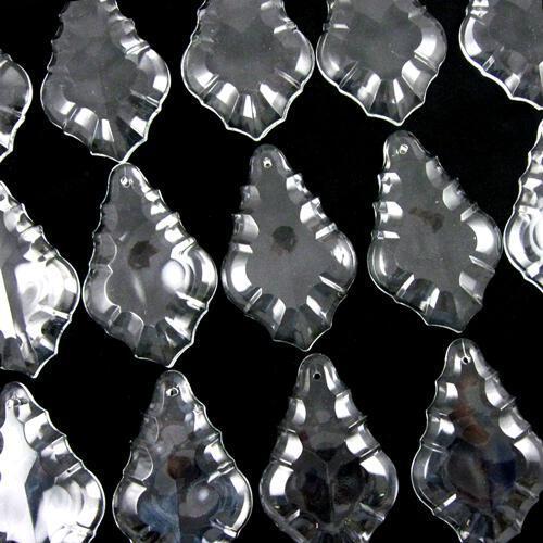 Pendente foglia 38 mm vetro veneziano colore puro cristallino