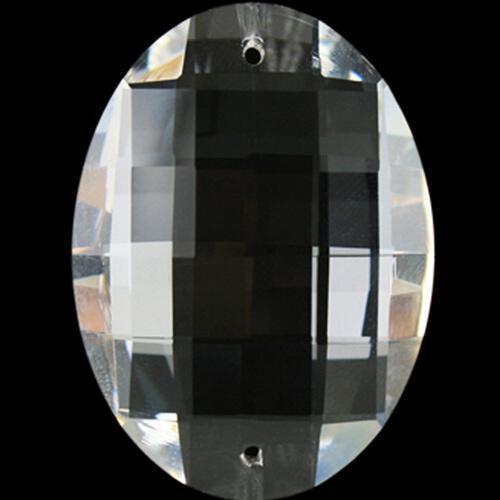 Cristallo ovale 50 mm in cristallo molato colore puro, 2 fori.