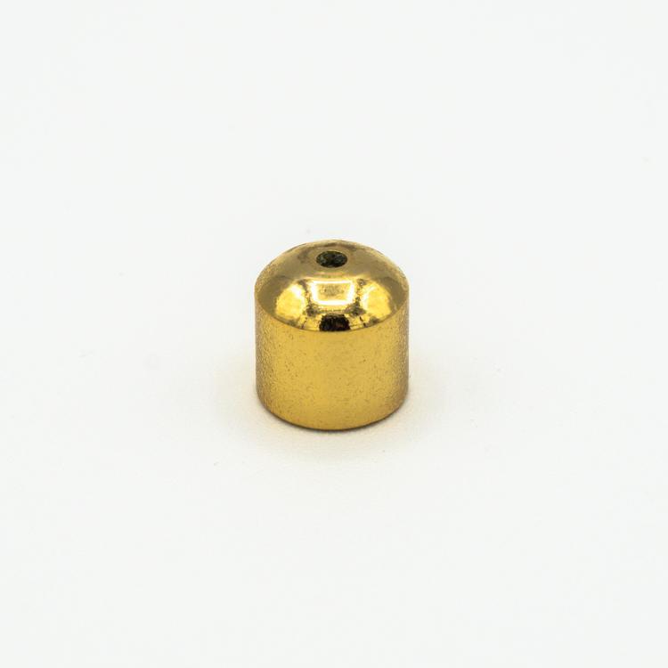 Finale dorato cilindrico M4 + foro centrale per filo