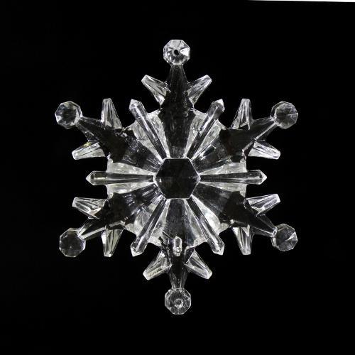 Fiocco di neve 100 mm cristallo acrilico sfaccettato 2 fori, colore puro.