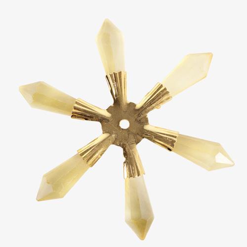 Fiocco di neve a stella 100 mm con cristalli ambra satinato e struttura metallica dorata, addobbo creativo