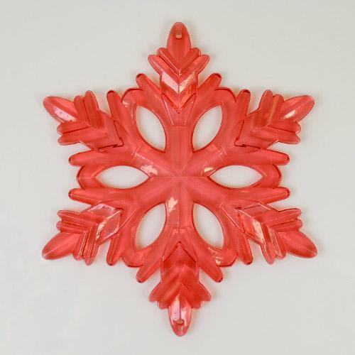 Fiocco di neve classico 130 mm acrilico color rosso, 2 fori.
