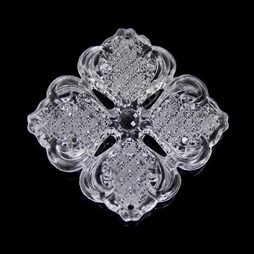 Fiore 40 mm cristallo acrilico color trasparente, 2 fori.