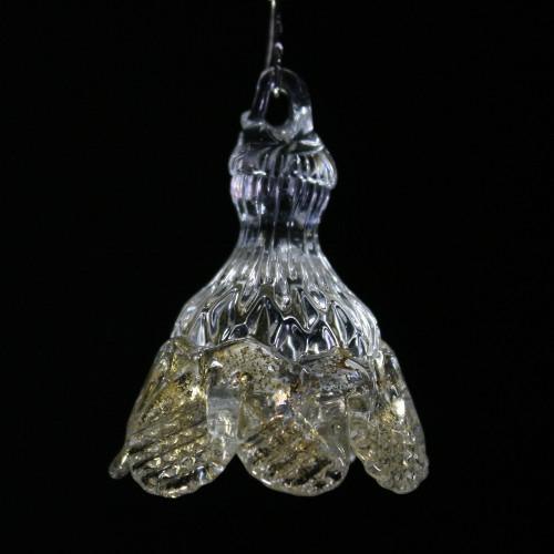 Fiore campanella h 50 mm pendente vetro Murano, colore cristallo e oro.
