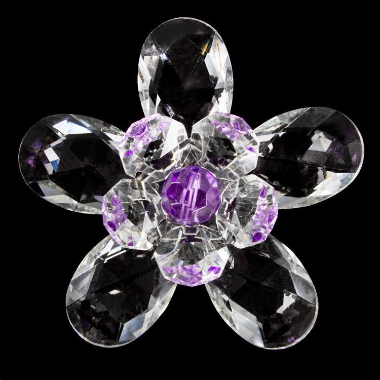 Fiore in cristallo con doppia corolla cristallo e perla viola. Attacco filetto M6
