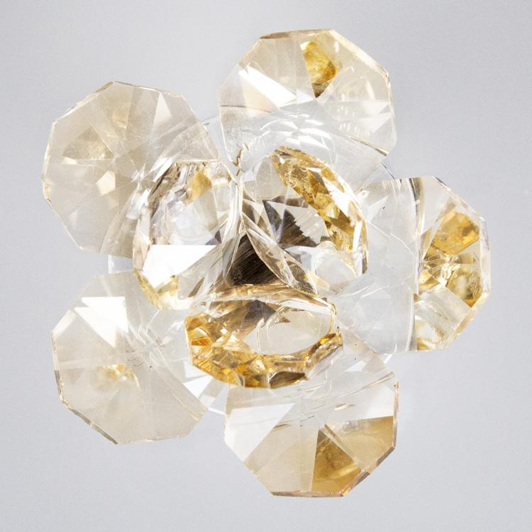 Fiore in cristallo corolla esterna e centrale ambrato. Attacco filetto M6
