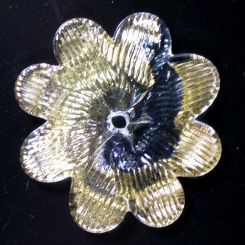 Fiore Ø90 mm in vetro Murano veneziano cristallo e oro zecchino.