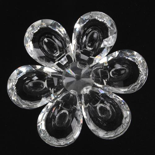 Fiore Peonia in cristallo con petali cristallo e centrale cristallo. Attacco filetto M6