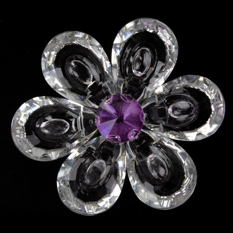 Fiore Peonia in cristallo con petali cristallo e centrale viola. Attacco filetto M6