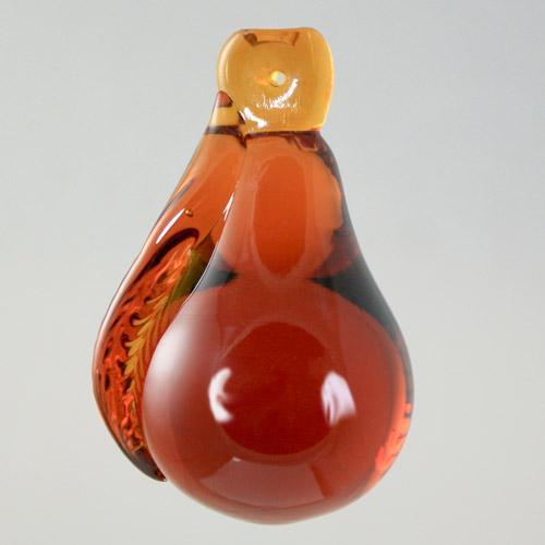 Frutto pendente vetro di Murano. Pera ambra in fogo.