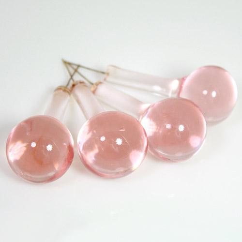 Goccia rotonda 55 mm in vetro Murano color rosa in fogo