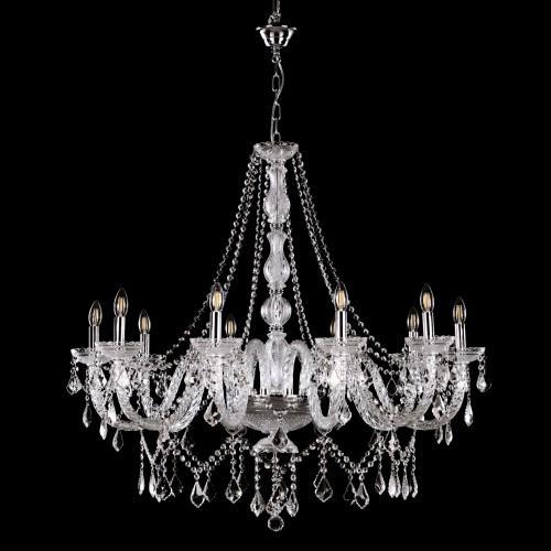 Grande lampadario cristallo 10 luci stile Boemia, allestito in cristallo molato e struttura cromo.
