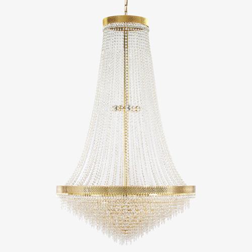 Grande lampadario stile Impero con allestimento in cristalli molati trasparenti, struttura oro.