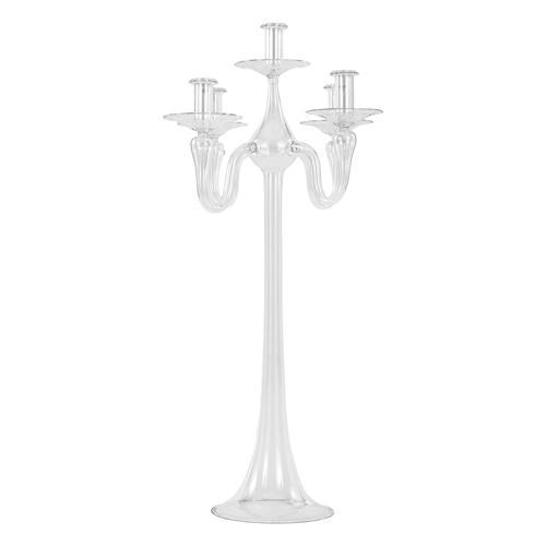 Grande portacandele candelabro a 4+1 bracci in vetro cristallo trasparente