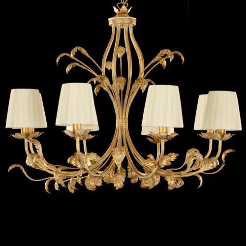 Lampadario 8 luci pennellato oro con paralumi avorio