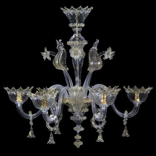 Lampadario classico veneziano 6 luci in vetro Murano cristallo e oro