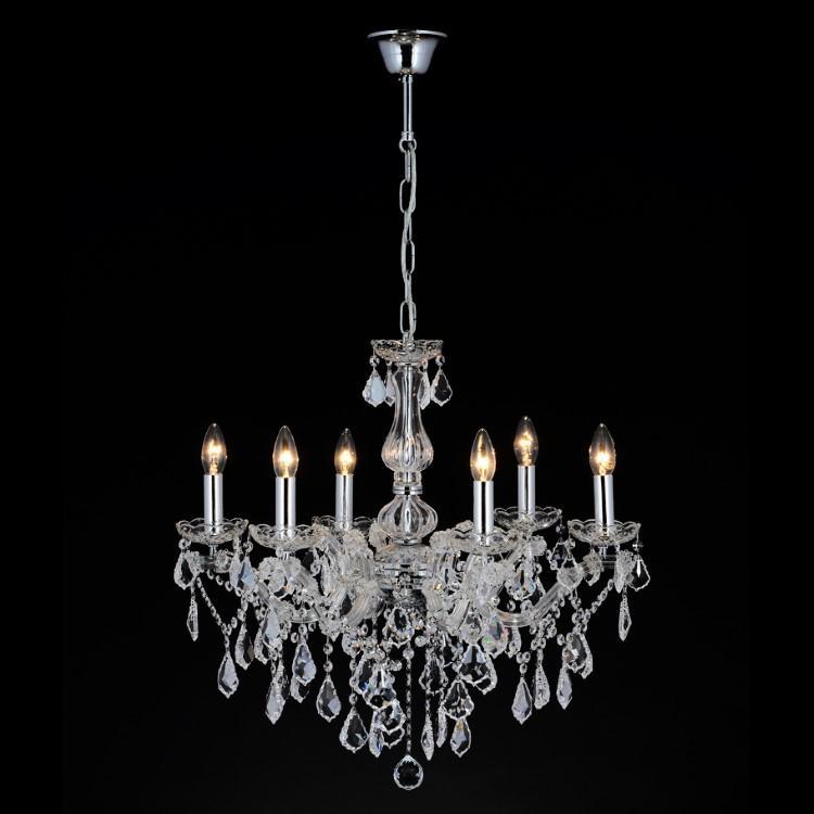 Lampadario cristallo 6 luci stile Maria Teresa con pendagli