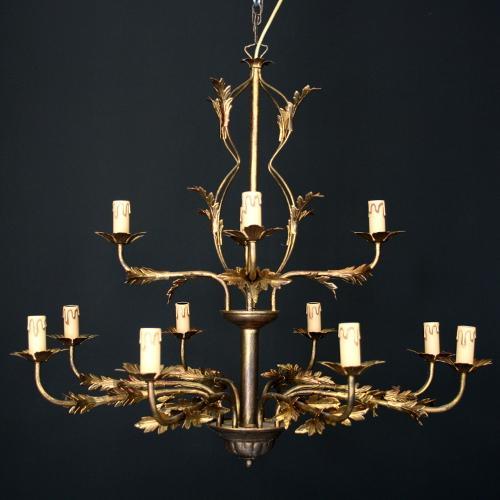 Lampadario stile fiorentino 12 luci finitura bronzo, prodotto in Italia