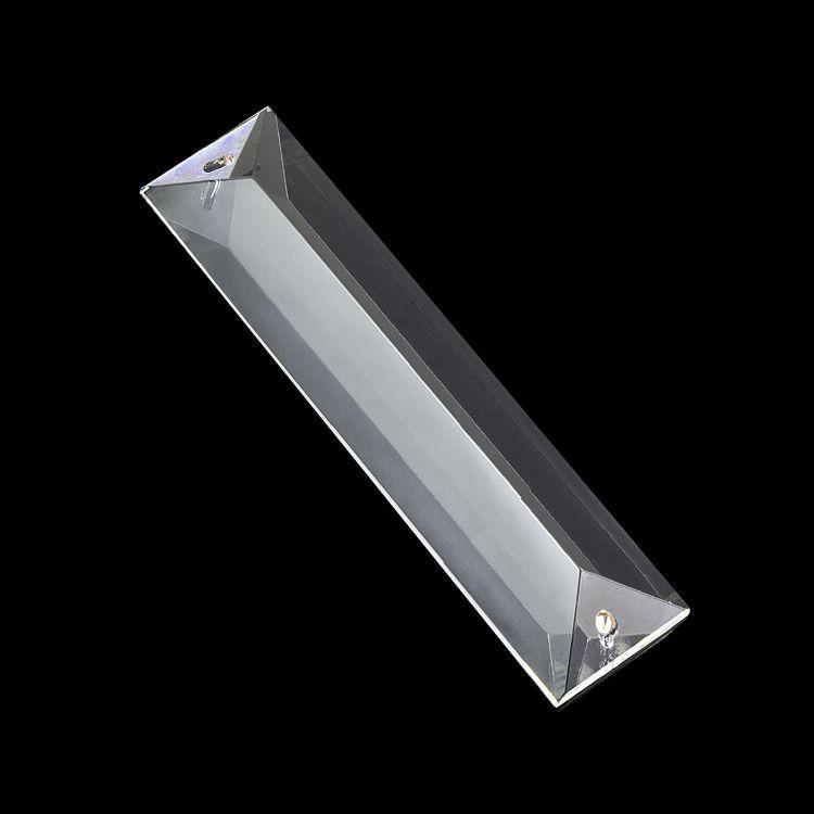 Losanga 120 mm baguette in cristallo molato con doppio foro.